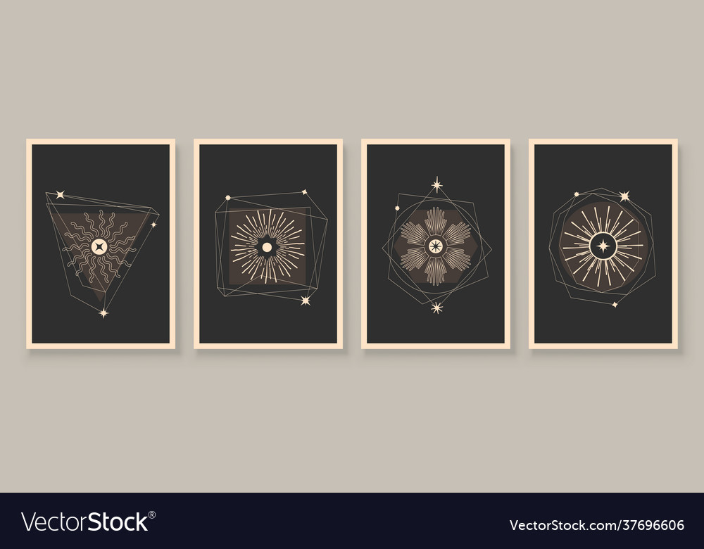 Abstract contemporary art with celestial geometry