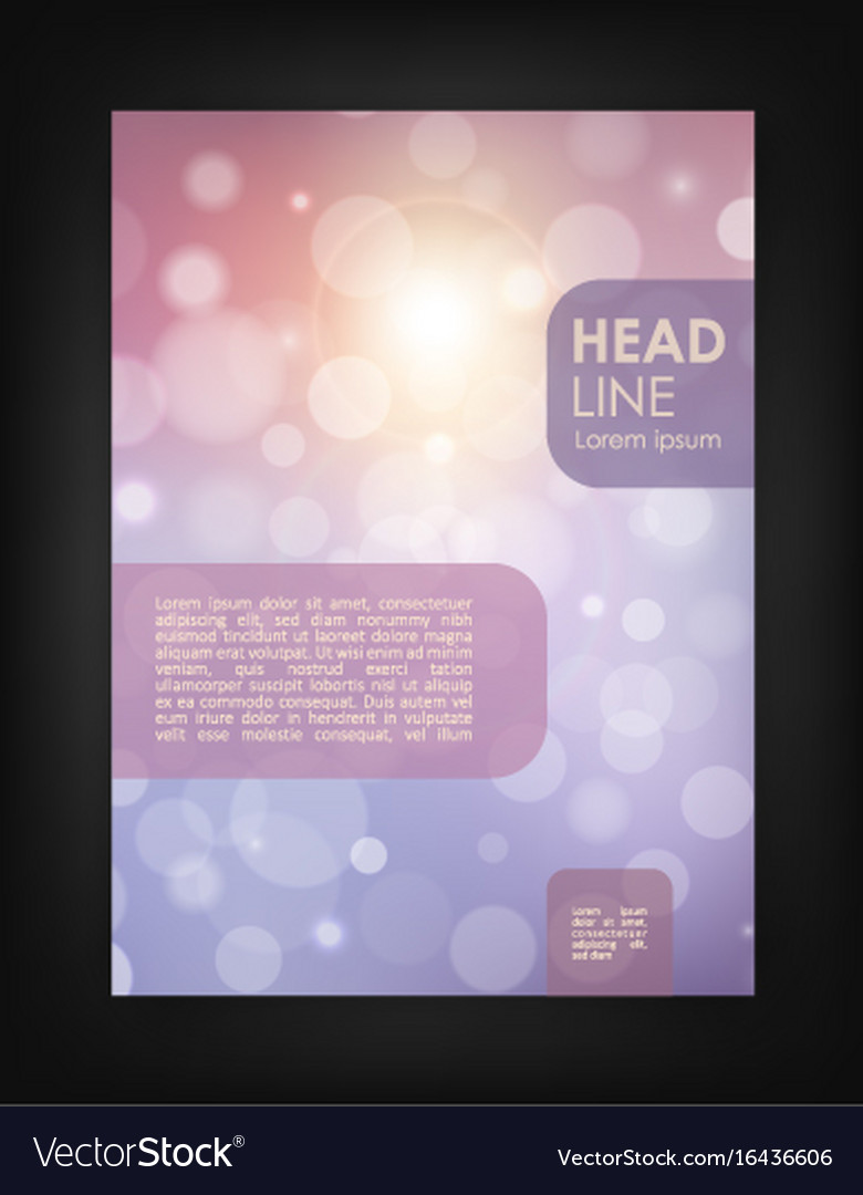 Brochure design template with bokeh backgrounds