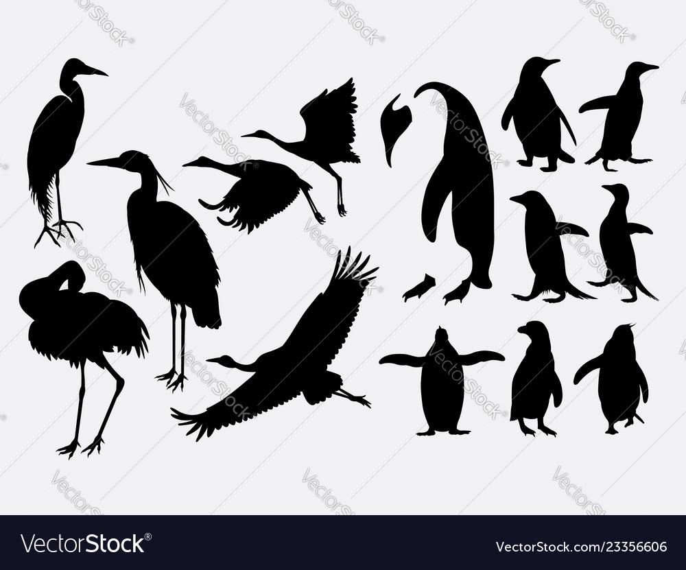 Crane and penguin animal silhouette