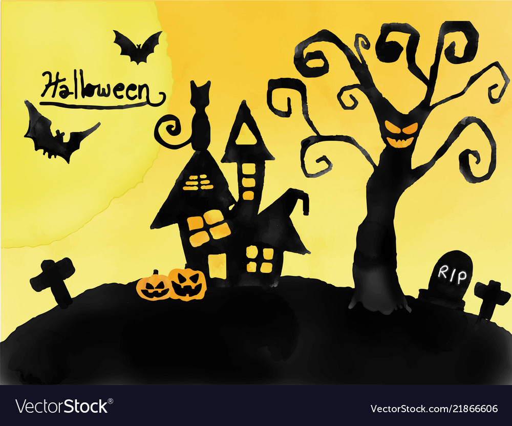 Halloween card watercolour silhouette haunted