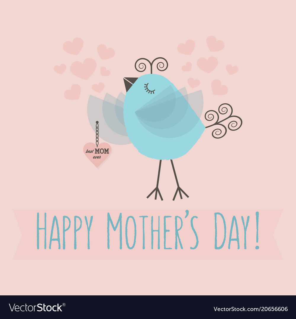 Happy mothers day - cute little bird holding heart