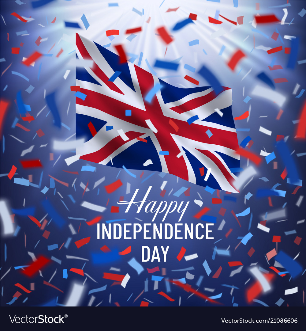 Independence Day.Happy Uk Independence Day Card With Confetti Vector Image