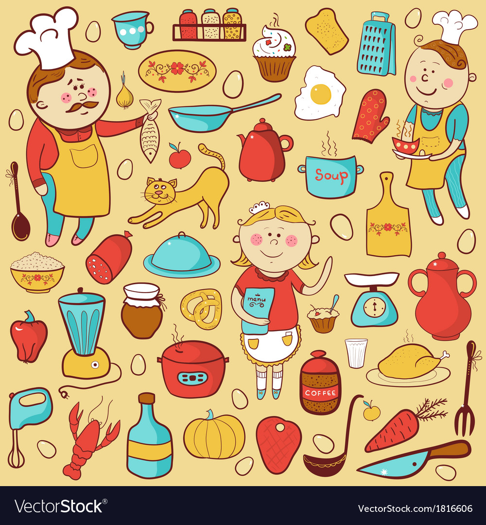 Kitchen Set Cartoon Colorful Elements Royalty Free Vector