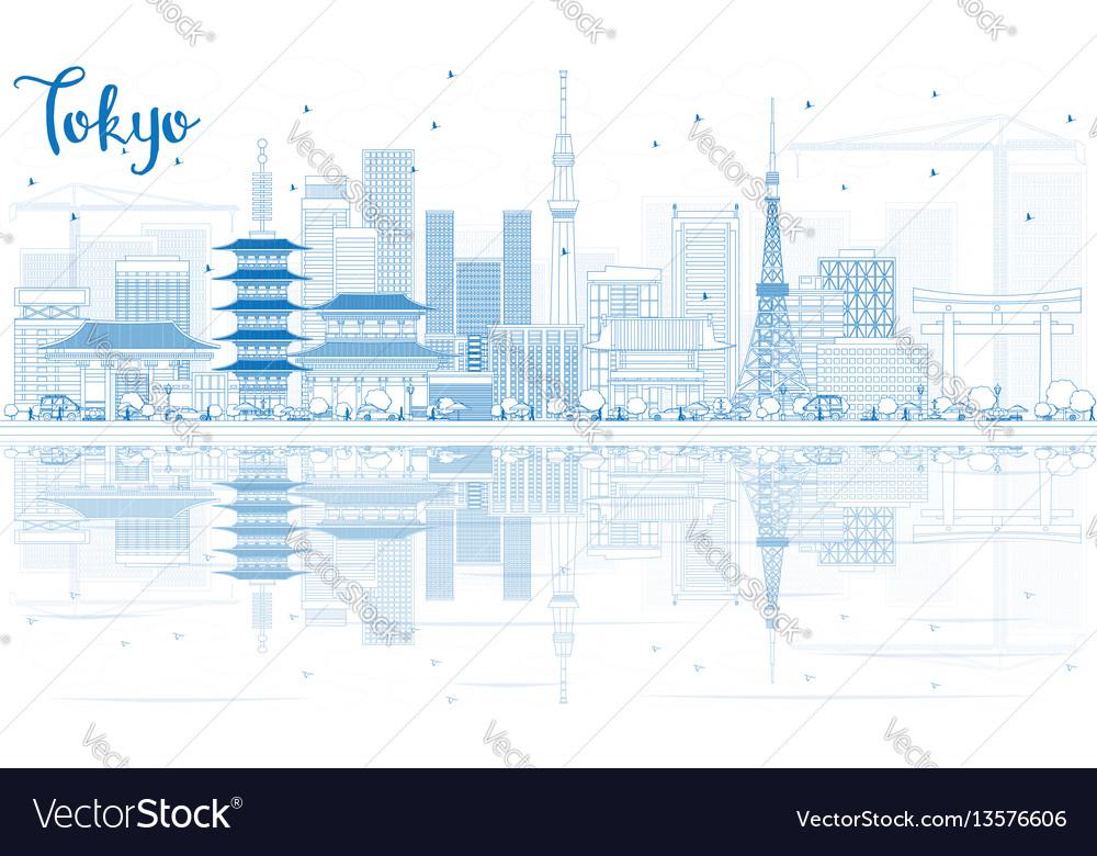 Outline tokyo skyline with blue buildings