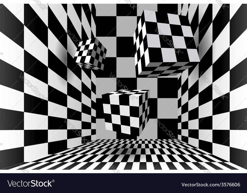 Room with checkered cubes vector image