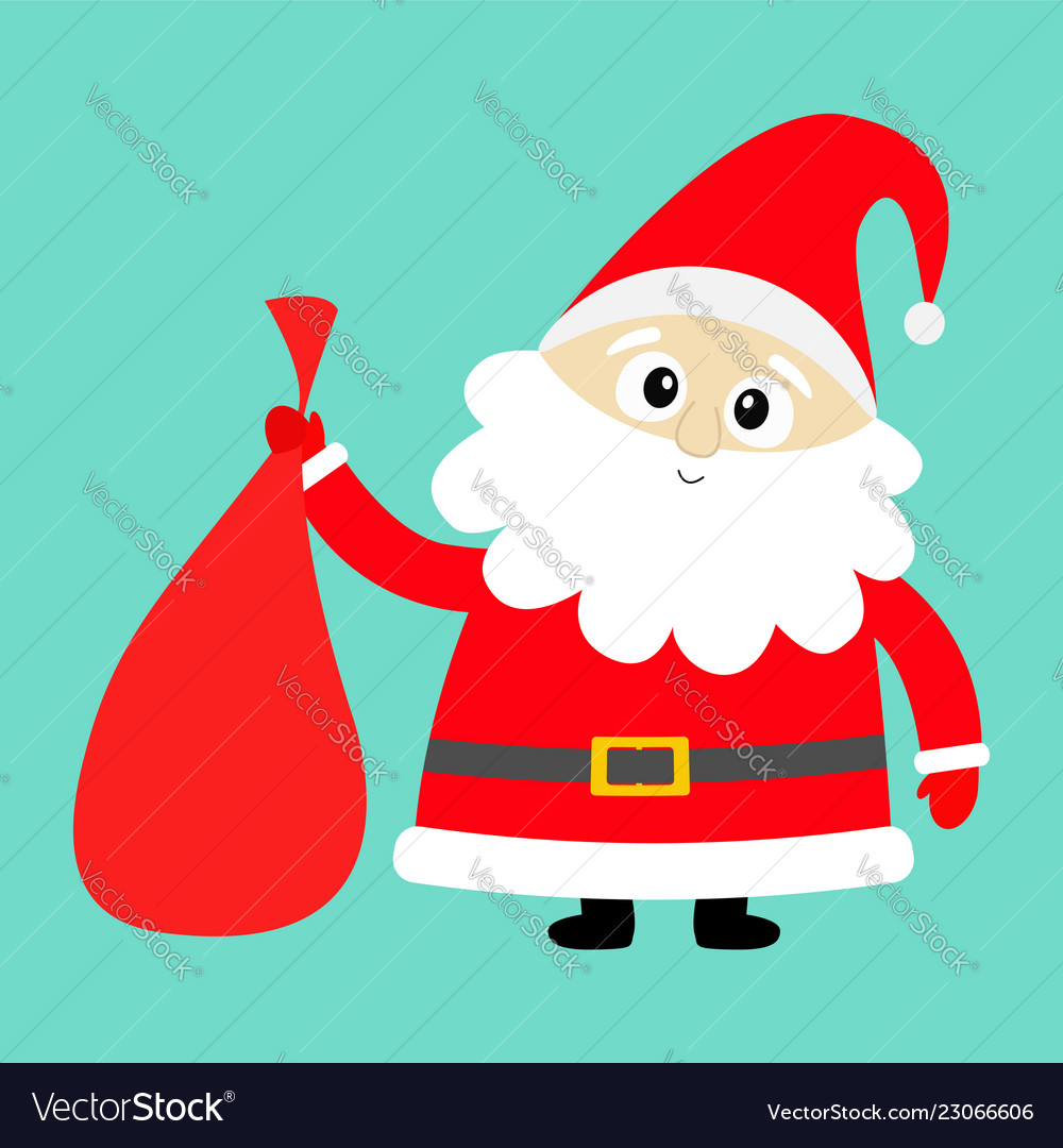 2b37a22f16b6f Santa claus holding carrying sack gift bag red Vector Image