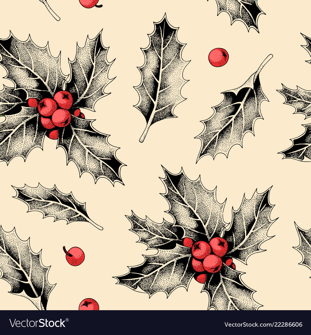 Seamless pattern with holly leaves and berries