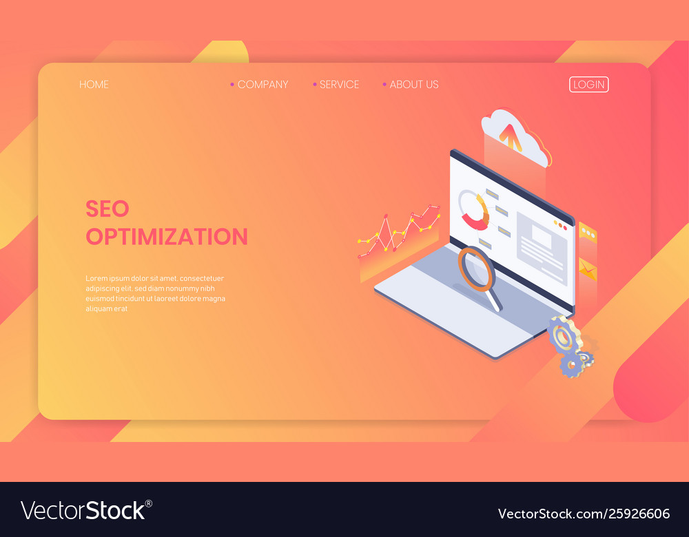 Seo optimization web page template concept