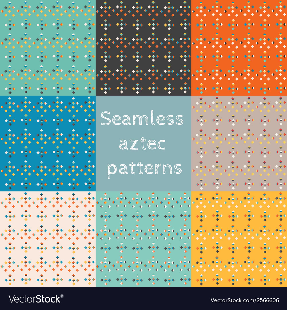 Set 8 seamless ethnic aztec patterns
