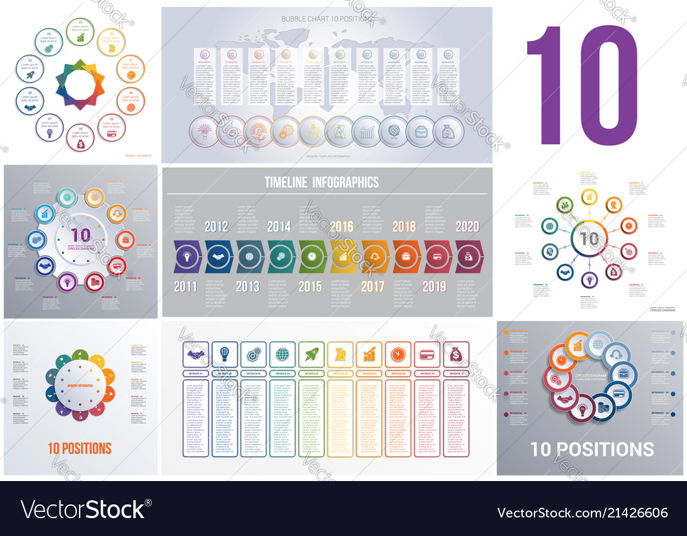 Set 8 universal templates elements infographics