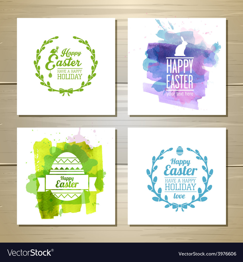 Set easter watercolor decorative cards