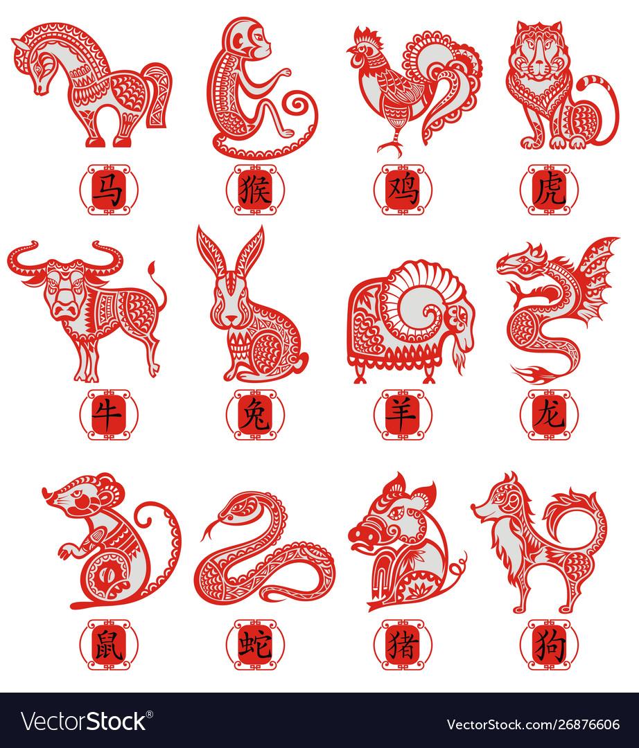 Set symbols chinese horoscope