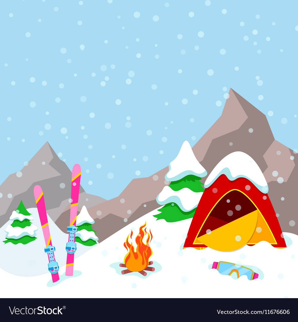 Winter Camp Mountains Landscape with Tent