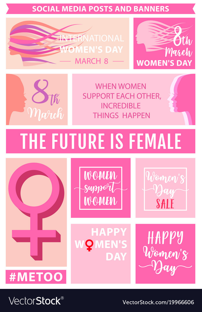 Womens day social media posts set vector image