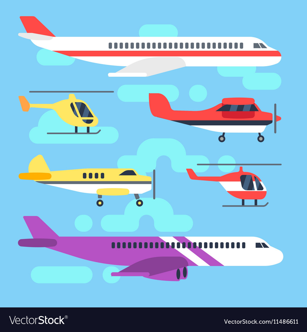 Aircraft airplane plane helicopter flat icons