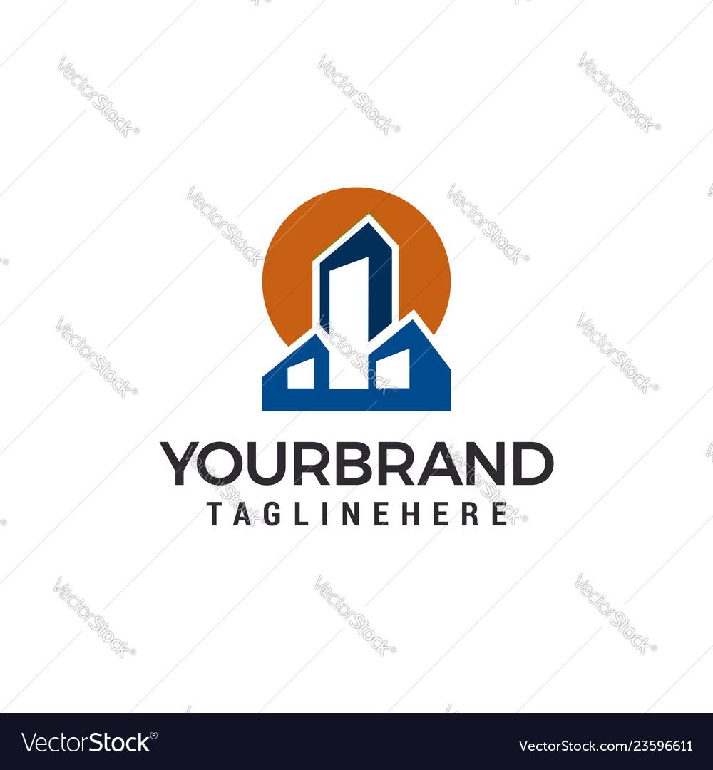 Building town logo template design
