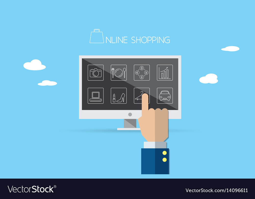 Business hand point the finger on laptop vector image