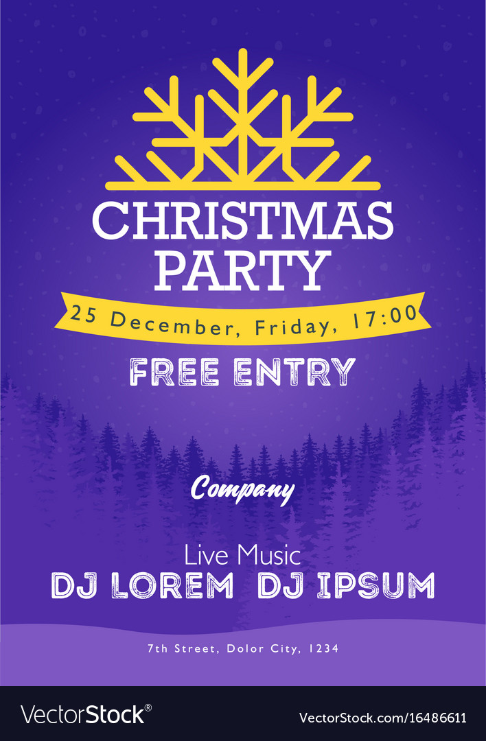 Christmas night party poster or flyer merry