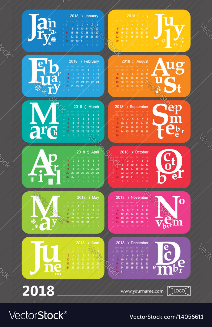 Creative calendar 2018 with selected holidays