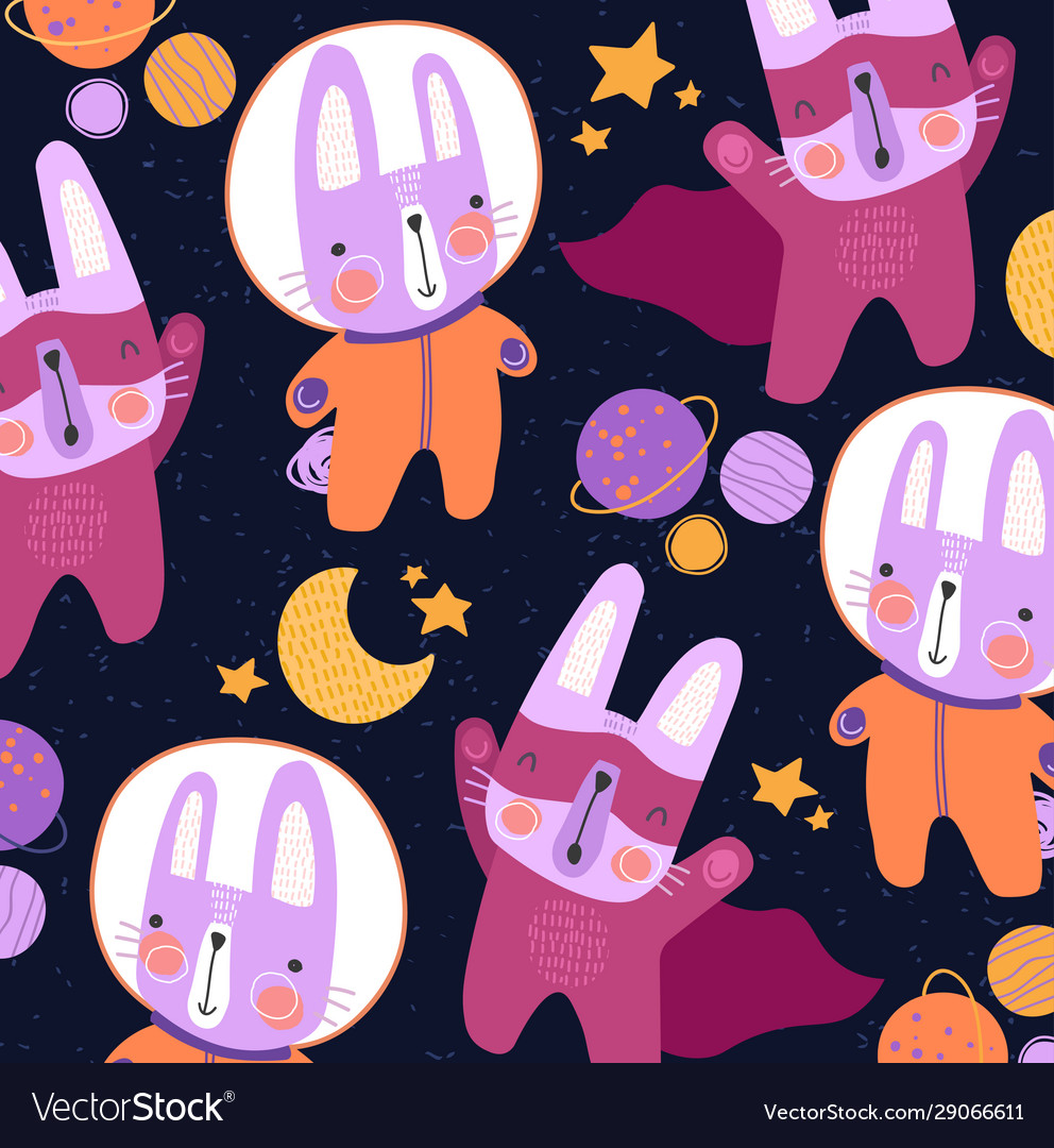 Cute colorful little cats in space suits and super