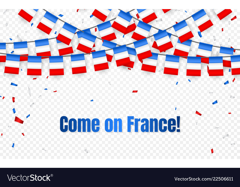 France garland flag with confetti on transparent