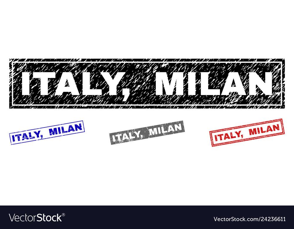 Grunge italy milan textured rectangle watermarks