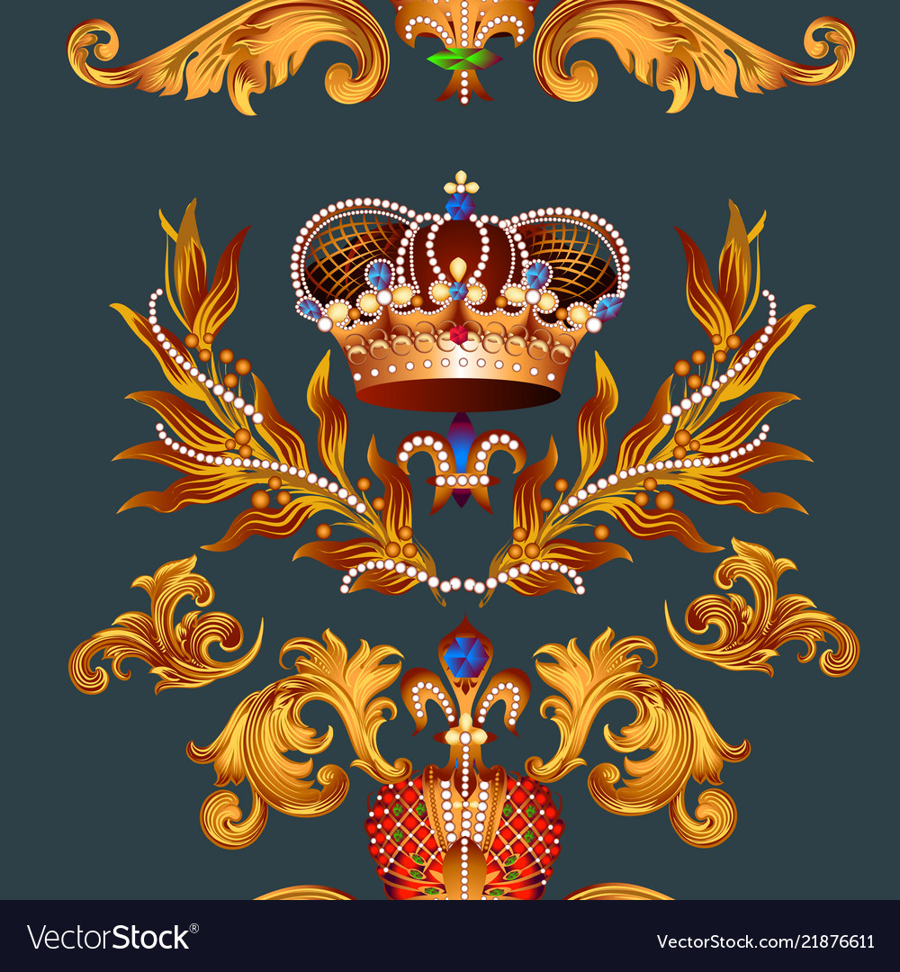 Heraldic seamless wallpaper pattern with fleur de
