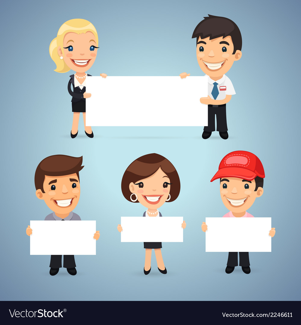 Managers With Blank Placards vector image
