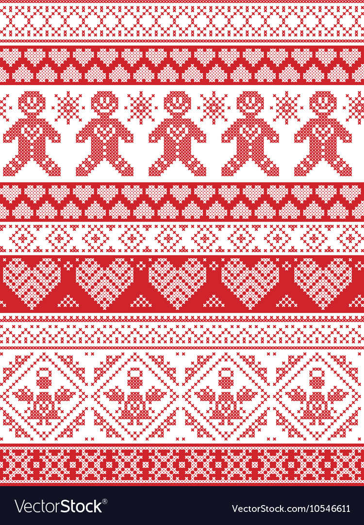 Nordic tall xmas pattern with gingerbread man
