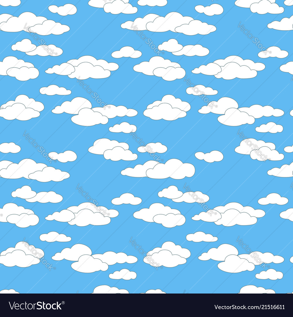 Seamless sky pattern with clouds