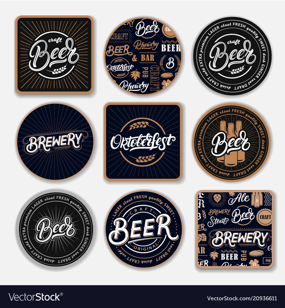 Set of 9 coasters for beer