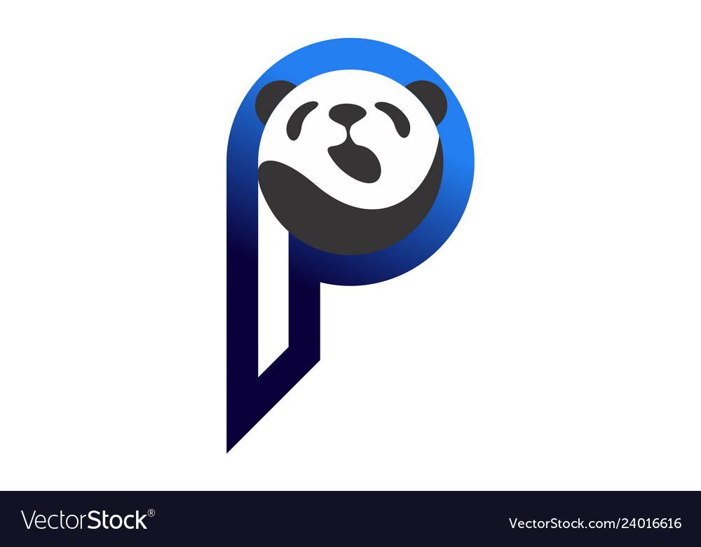 Abstract panda letter p logo icon