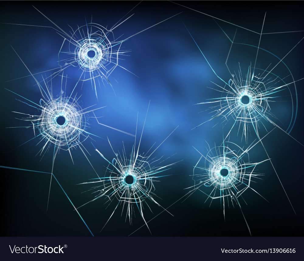 Bullet holes in glass vector image