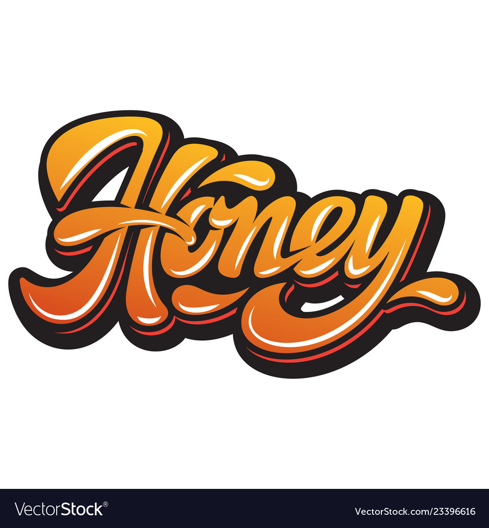 Calligraphic color and stylish inscription - honey