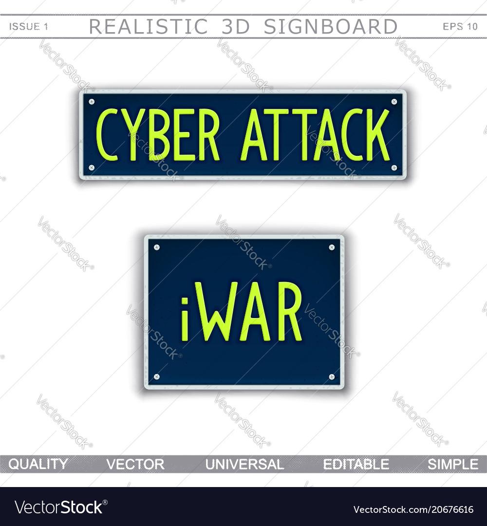 Conceptual Signboard Design Cyber Attack Iwar Vector Image