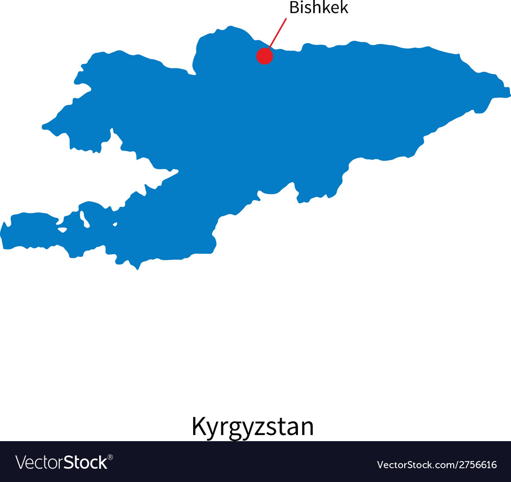 Detailed map of Kyrgyzstan and capital city