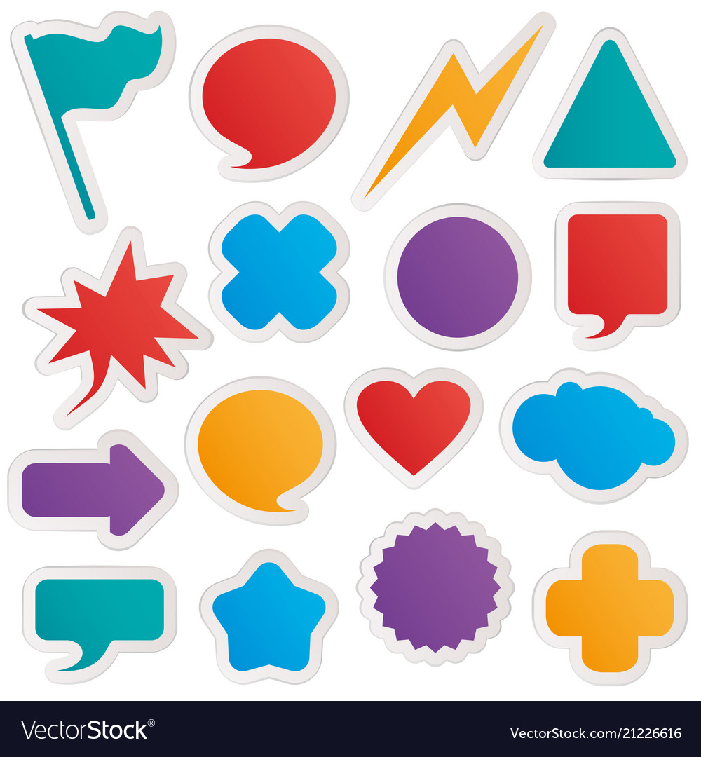 different colorful shapes sticker style royalty free vector