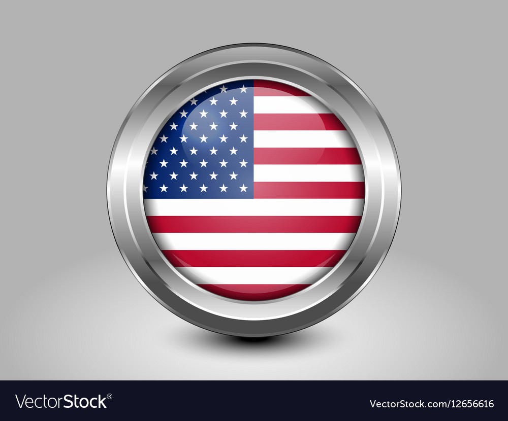 Flag of United States of America Glass Round Icon