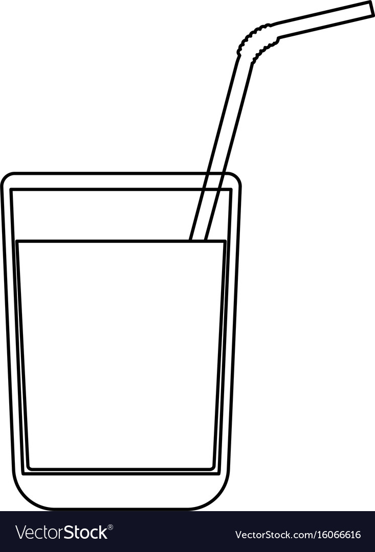 Juice glass with drinking straw black color path