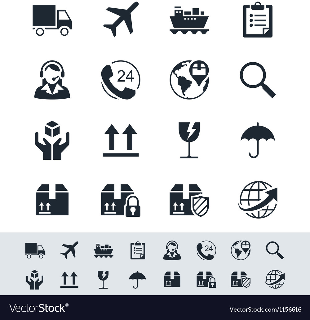 Logistics and shipping icon set simplicity theme