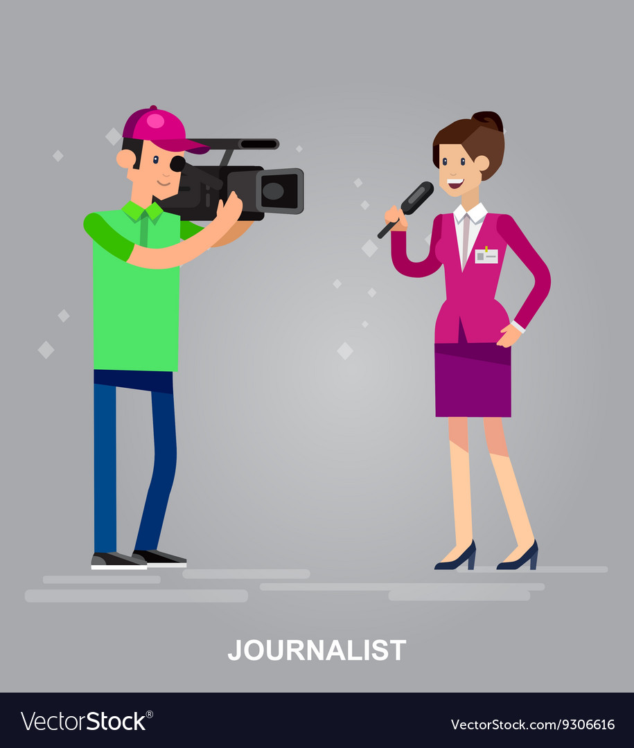 Mass media design concept set with journalists