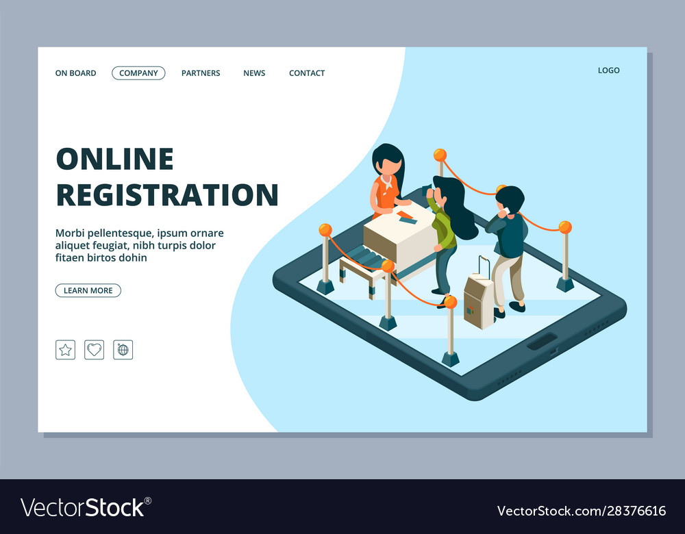 Online registration landing page isometric front