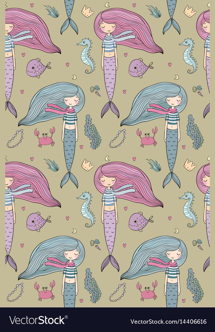 Pattern with cute little mermaid siren sea theme