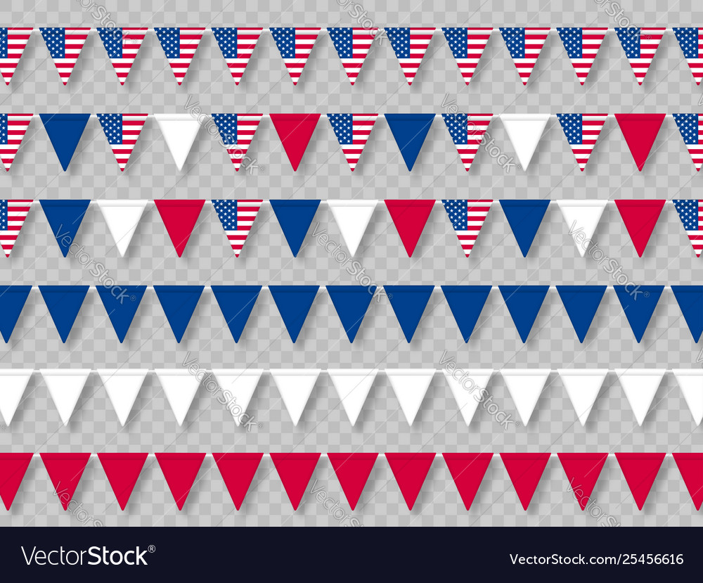 Set usa bunting flags in traditional colors