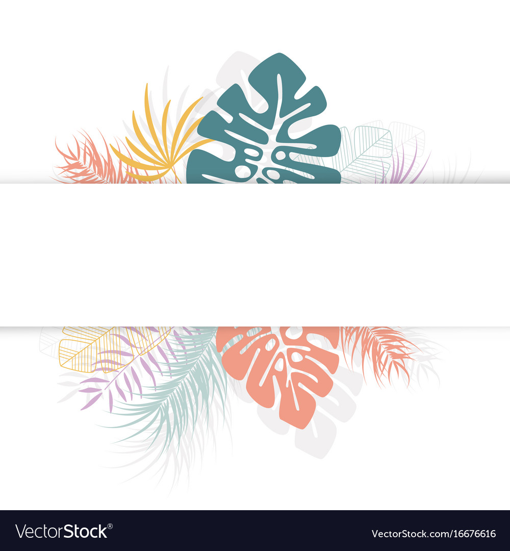 Tropical design with colorful palm leaves