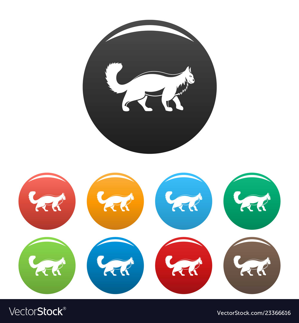Walking cat icons set color