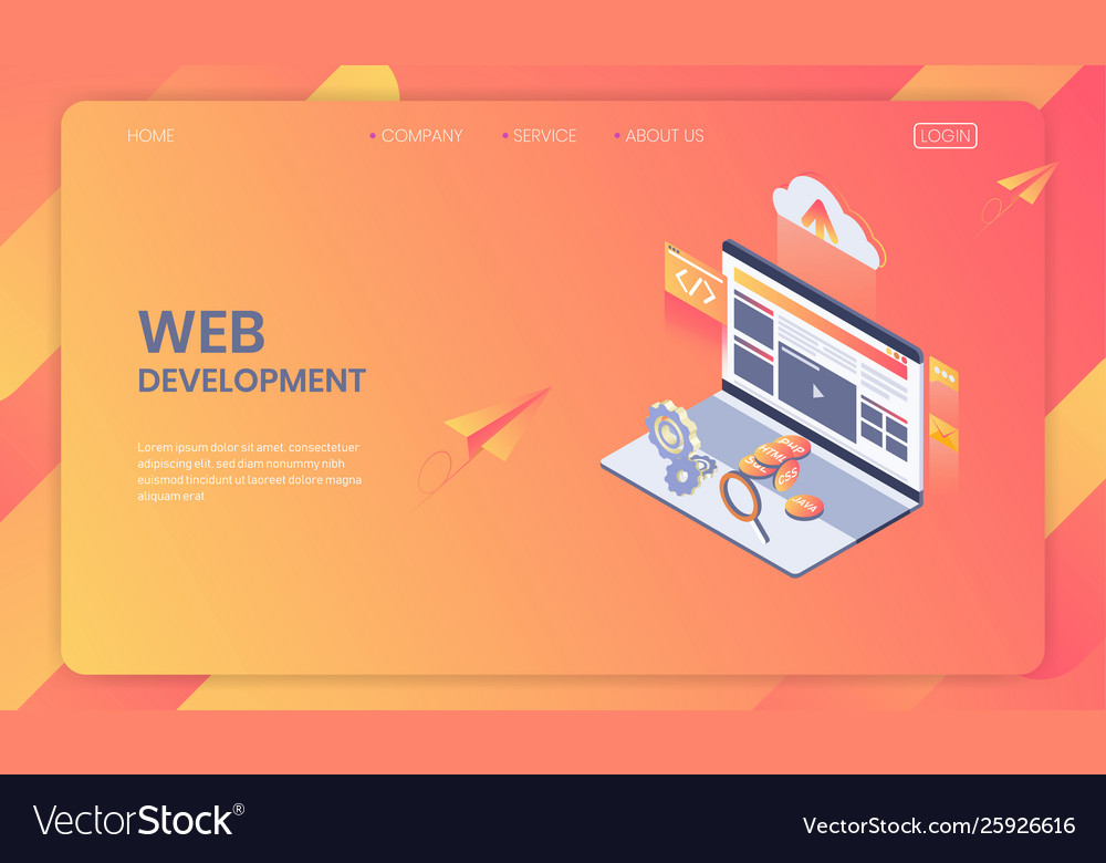 Web development isometric concept seo analysis