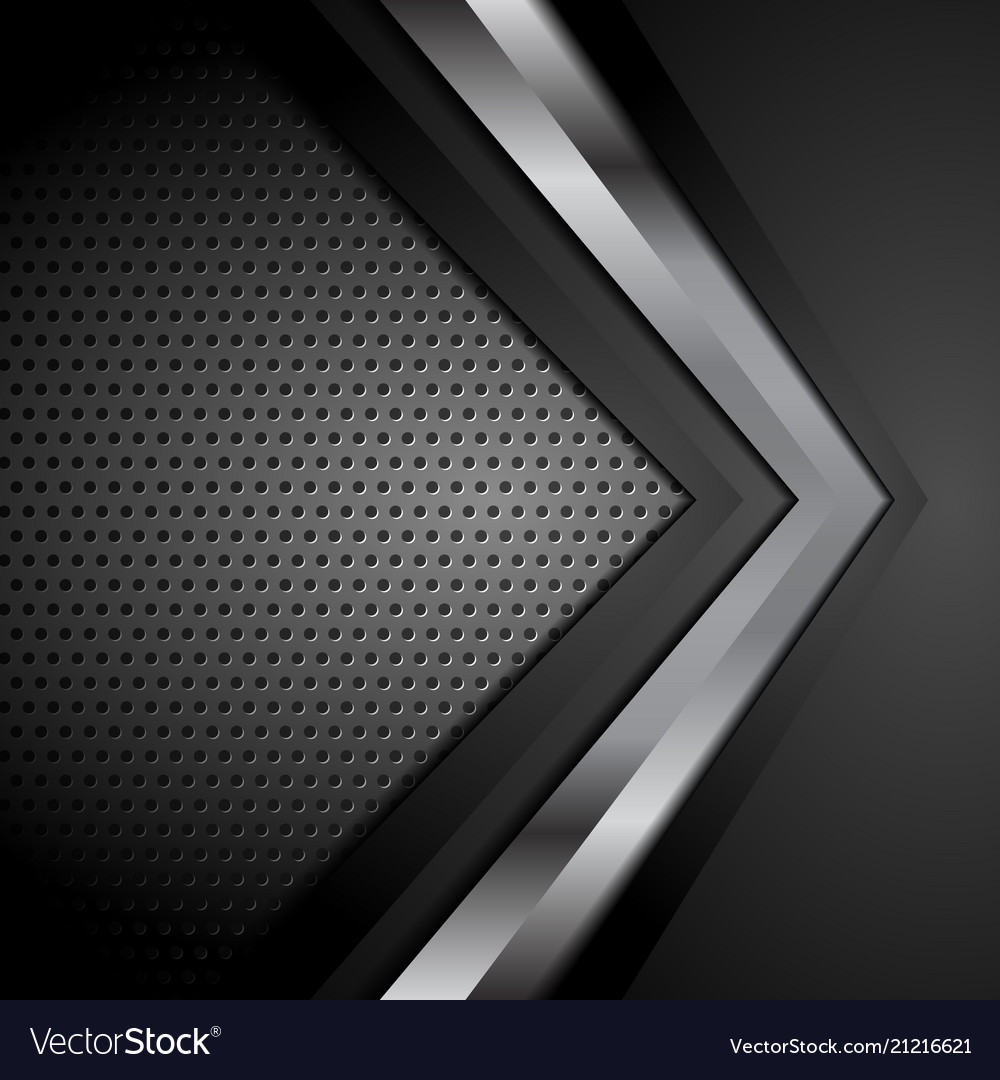 Black technology background with metallic arrow