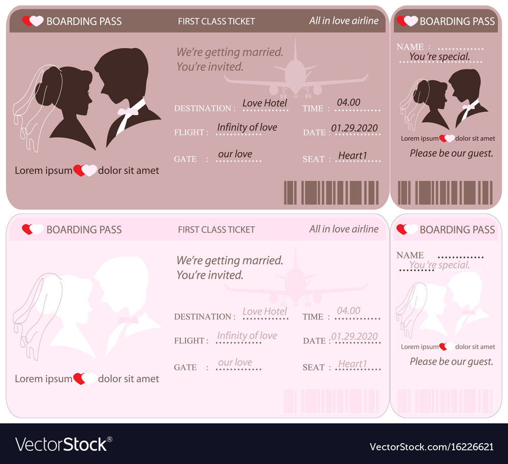 Boarding Pass Ticket Wedding Invitation Template