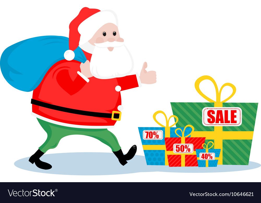 Christmas sale Santa vector image